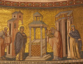 Rome - mosaic of Presentation in the Temple in Santa Maria in Trastevere basilica by Pietro Cavallini from year 1291 — Stock Photo
