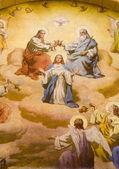 Coronation of holy Mary from Vienna st. Francis church — Stock Photo