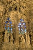 Barcelona - detail from Sagrada la Familia cathedral facade at night — Stockfoto