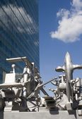 Sky-scraper from vienna and modern metal art — Stock Photo