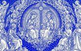 Mary and Jesus in heaven - lithography from old Missale Romanum — Stock Photo