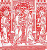 Mary visit the Elizabeth scene - lithography from old Missale Romanum — Stock Photo