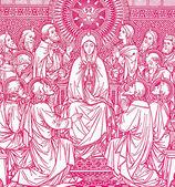 Cena pentecostes - litografia de idade romanum missale — Foto Stock