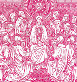 Pentecost scene - lithography from old Missale Romanum — Stockfoto
