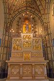 ANTWERP, BELGIUM - SEPTEMBER 5: Carved altar with the reliefs from 19. cent. from side chapel of Joriskerk or st. George church on September 5, 2013 in Antwerp, Belgium — Stock Photo