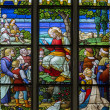 MECHELEN, BELGIUM - SEPTEMBER 6: Sermon on Mount scene from windowpane in St. Rumbold's cathedral on September 6, 2013 in Mechelen, Belgium. — Stock Photo #40511449