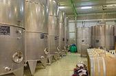 BRATISLAVA, SLOVAKIA - JANUARY 30, 2014: Indoor of wine manufacturer great Slovak producer. Modern big cask for the fermentation. — Foto de Stock