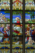 MECHELEN, BELGIUM - SEPTEMBER 6: Sermon on the Mount scene from windowpane in St. Rumbold's cathedral on September 6, 2013 in Mechelen, Belgium. — Stock Photo