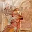 ROME - MARCH 22: Archangel Gabriel fresco from Annunciation scene on the wall of Basilica di Santa Prassede on March 22, 2012 in Rome. — Stock Photo