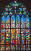 ANTWERP, BELGIUM - SEPTEMBER 5: Windowpane from cathedral of Our Lady on September 5, 2013 in Antwerp, Belgium — Stock Photo