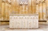 BRATISLAVA, SLOVAKIA - FEBRUARY 5, 2014: Altar from gothic St. John the Evangelist chapel beside of Franciscan church. — Zdjęcie stockowe