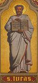 Antverpy, belgie - 5. září: freska sv. lukáše evangelist v presbytáři joriskerk nebo st. george kostel z 19. cent. na 5 září, 2007-2013 v antverpách, belgie — Stock fotografie