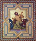 VIENNA, AUSTRIA - JULY 27, 2013: Fresco of prophet Jonah by Carl Mayer from 19. cent. in Altlerchenfelder church. — Stock Photo