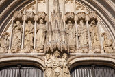 BRUSSELS - JUNE 22: Detail from main portal from gothic cathedral of Saint Michael and Saint Gudula on June 22, 2012 in Brussels. — Stock Photo