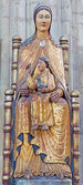 LEUVEN - SEPTEMBER 3: Neo-gothic polychrome statue of Madonna in st. Peters gothic cathedral on September 3, 2013 in Leuven, Belgium. — Stock Photo