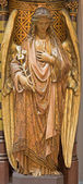 ANTWERP, BELGIUM - SEPTEMBER 5: Carved polychrome angel from pulpit of Joriskerk or st. George church on September 5, 2013 in Antwerp, Belgium — Stock Photo
