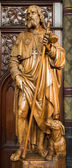 ANTWERP, BELGIUM - SEPTEMBER 5: Carved statue of apostle Jacob from Joriskerk or st. George church on September 5, 2013 in Antwerp, Belgium — Stock Photo