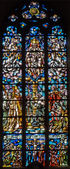 ANTWERP, BELGIUM - SEPTEMBER 6: Modern windowpane of Holy Trinity in Saint Willibrordus church on September 6, 2013 in Antwerp, Belgium — 图库照片