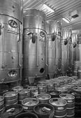 BRATISLAVA, SLOVAKIA - JANUARY 30, 2014: Indoor of wine manufacturer great Slovak producer. Modern big cask for the fermentation. — Stock Photo