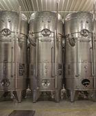 BRATISLAVA, SLOVAKIA - JANUARY 30, 2014: Indoor of wine manufacture of great Slovak producer. Modern big cask for the fermentation. — Foto de Stock