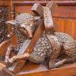 ������, ������: BRATISLAVA SLOVAKIA FEBRUARY 11 2014: Agnus Dei carved sculpture from bench in presbytery in st Matins cathedral from years 1863 1878 from manufactures of Anton Furst a Johann Hutterer