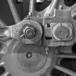 Detail of driving rod mechanism on old steam locomotive — Stock Photo