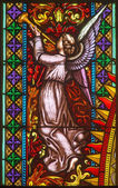 BRATISLAVA, SLOVAKIA - FEBRUARY 11, 2014: Angel from windowpane on west portal of st. Matins cathedral from 19. cent. from manufactures of Karol Geyling and Eduard Kratzmann, — Stock Photo