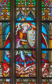 BRATISLAVA, SLOVAKIA - FEBRUARY 11, 2014: St. Michale archangel from windowpane in st. Ann chapel from Matins cathedral (1877) from manufactures of Karol Geyling and Eduard Kratzmann, — Stock Photo