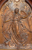 ANTWERP, BELGIUM - SEPTEMBER 5: Metal relief of Angel of the peace from Joriskerk or st. George church on the wars victims memorial on September 5, 2013 in Antwerp, Belgium — Stock Photo