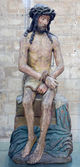 LEUVEN - SEPTEMBER 3: Christ on the cold stone statue in st. Peters gothic cathedral from early 16. cent. in September 3, 2013 in Leuven, Belgium. — Stock Photo