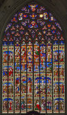 MECHELEN, BELGIUM - SEPTEMBER 6: Scenoe of Jesus life from windowpane of St. Rumbold's cathedral on September 6, 2013 in Mechelen, Belgium. — Stock Photo
