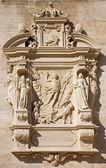 VIENNA - JULY 27: Tomb stone with the resurrection of Jesus relief from west facade of monastery church in Klosterneuburg on July 27, 2013 Vienna. — Stock Photo