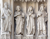 VIENNA - JULY 3: Statue from west portal of gothic church Maria am Gestade on July 3, 2013 in Vienna. — Stockfoto