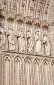 TOLEDO - MARCH 8: Statues of apostles from main gothic portal of Cathedral Primada Santa Maria de Toledo on March 8, 2013 in Toledo, Spain. — Stock Photo