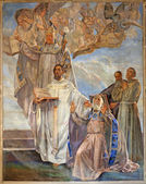 VERONA - JANUARY 27: Fresco of four big Teachers of west catholic church by Agostino Pegrassi from year 1932 in San Bernardino church and Canossa chapel on January 27, 2013 in Verona, Italy. — 图库照片