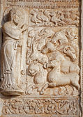 VERONA - JANUARY 27: Relief of creation from facade of romanesque Basilica San Zeno. Reliefs is work of the sculptor Nicholaus and his workshop on January 27, 2013 in Verona, Italy. — Stock Photo