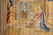 BERGAMO - JANUARY 26: Gobelin of Annunciation from year 1583 by Alessandro Allori in church Santa Maria Maggiore on January 26, 2013 in Bergamo, Italy. — Stock Photo