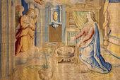 1 月 26 日 - ベルガモ: ベルガモ、イタリアのアレッサンドロ ・ アローリ教会サンタ・マリア ・ マッジョーレ大聖堂に 1583 年から 2013 年 1 月 26 日に受胎告知のゴブラン. — ストック写真
