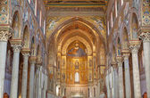PALERMO, ITALY - APRIL 9, 2012: Main nave of Monreale cathedral. Church is wonderful example of Norman architecture. Cathedral was completed about 1200. — Stock Photo