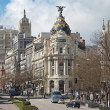 Madrid - look from Plaza de Cibeles to Cale de Alcala street and Metropolis building — Stock Photo #40963271