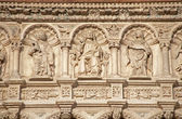 BERGAMO - JANUARY 26: Jesus and the apostle. Detail from east portal of basilica Santa Maria Maggiore on January 26, 2013 in Bergamo, Italy. — Stock Photo