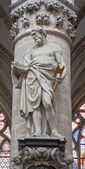 BRUSSELS - JUNE 22: Statue of st.Thadeus or Jude the apostle by Jeroom Duquesnoy de Jonge (1644) in baroque style from gothic cathedral of Saint Michael and Saint Gudula on June 22, 2012 in Brussels. — Stock Photo