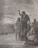 Baptism of Christ illustration from old Bible — Stock Photo