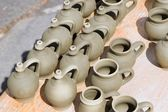 Jugs from potery workroom — Stock Photo