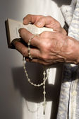 Morning prayer of old woman — Stock Photo