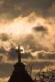 Cross in sunset — Stock Photo