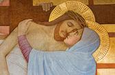 VIENNA, AUSTRIA - FEBRUARY 17, 2014: Detail from Deposition of the cross scene over st. John of the Cross side altar by P. Verkade (1927) in Carmelites church in Dobling. — Stock Photo