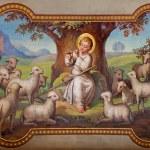 Постер, плакат: VIENNA AUSTRIA FEBRUARY 17 2014: Fresco of little Jesus as good shepherd by Josef Kastner 1906 1911 in Carmelites church in Dobling
