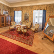 SAINT ANTON, SLOVAKIA - FEBRUARY 27, 2014: Bedroom of guests. Furniture from 19. cent in palace Saint Anton. — Stock Photo #42363803