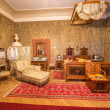 SAINT ANTON, SLOVAKIA - FEBRUARY 27, 2014: Bedroom of guests. Furniture from 19. cent in palace Saint Anton. — Stock Photo #42366871